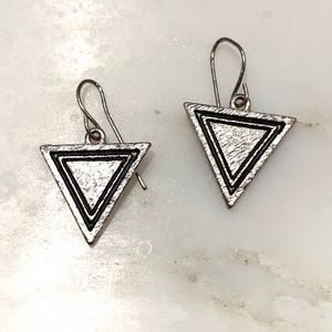 Nasty Gal silver triangle earrings — edgy!!